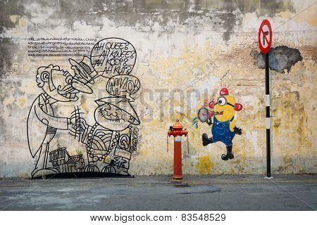 Malaysia, Penang, Georgetown - Circa Jul 2014: Two Diverse Murals Painted On The Same Wall.  One Is