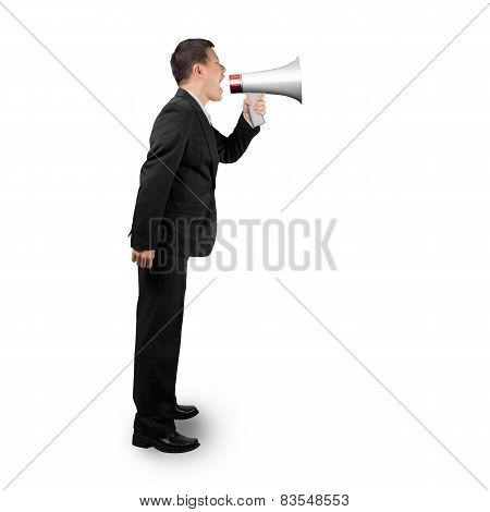 Businessman Using Megaphone Yelling Isolated On White