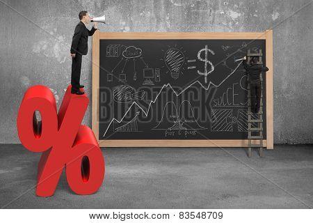 Businessman Using Megaphone On Red Percentage Sign With Doodles Blackboard
