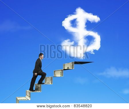 Businessman Climbing On Money Stairs With Dollar Sign Shape Cloud