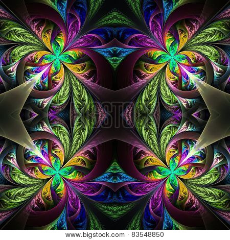 Symmetric Multicolored Fractal Tracery. Collection - Frosty Pattern. On Black.