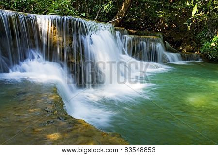 Waterfall  White And Emerald
