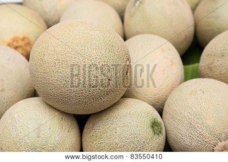 Pile Of Cantaloupe Fruit