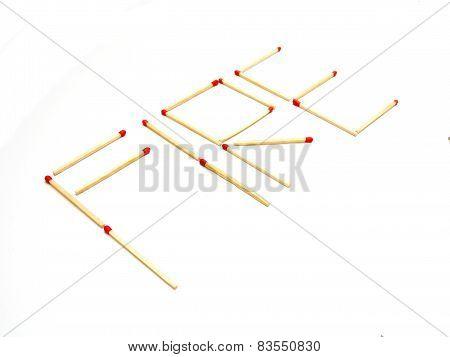 Inscription Fire Set Of Matchsticks