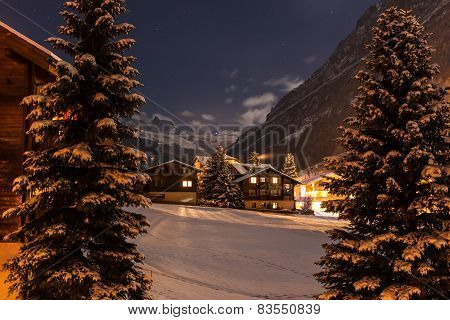 Winter Night View Of The Tasch Valley