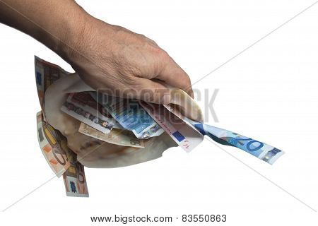 hand is holding a seashell with money white background.