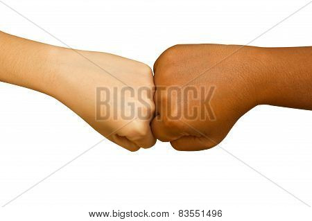 Female And Male People Giving A Fist Bump,fist Bump Hand Sign Coherence
