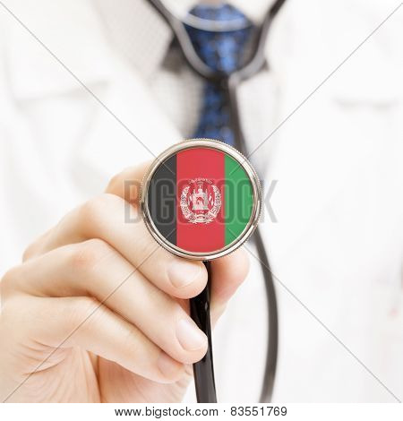 National Flag On Stethoscope Conceptual Series - Afghanistan