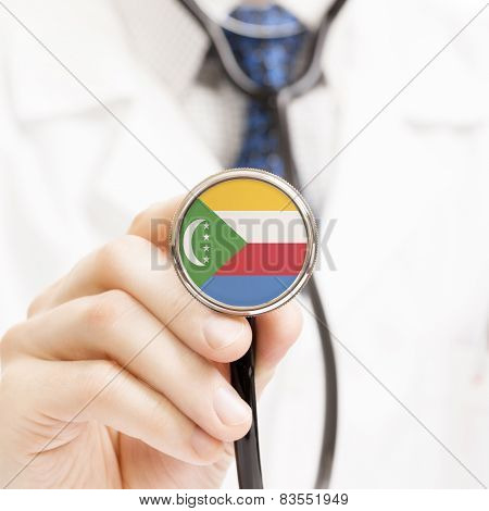 National Flag On Stethoscope Conceptual Series - Comoros