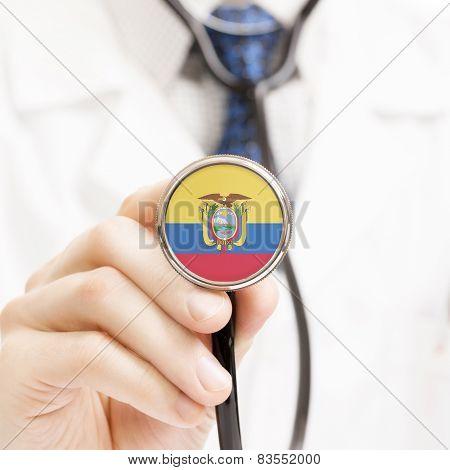 National Flag On Stethoscope Conceptual Series - Ecuador