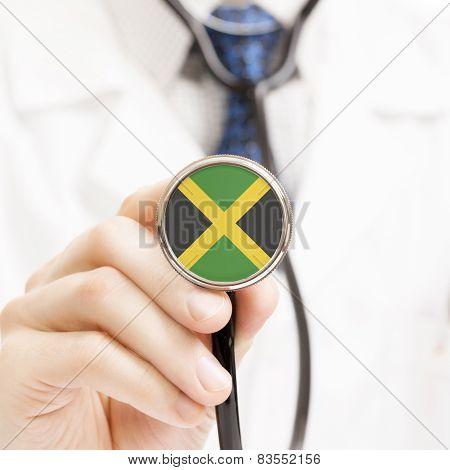 National Flag On Stethoscope Conceptual Series - Jamaica