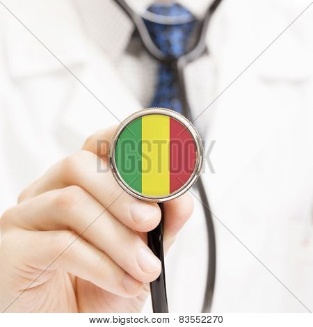 National Flag On Stethoscope Conceptual Series - Mali
