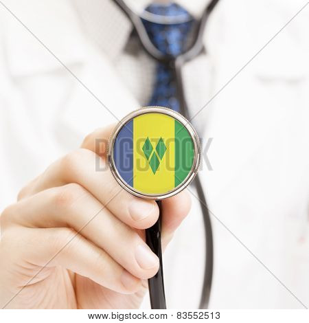 National Flag On Stethoscope Conceptual Series - Saint Vincent And The Grenadines