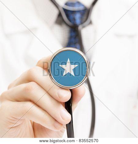National Flag On Stethoscope Conceptual Series - Somalia