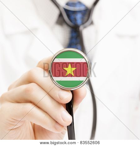 National Flag On Stethoscope Conceptual Series - Republic Of Suriname