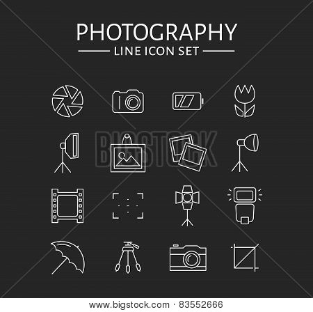 Photo Icons Set. Vector Outline Symbols.