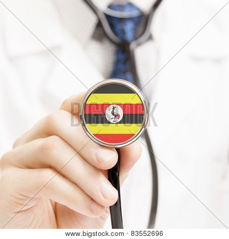 National Flag On Stethoscope Conceptual Series - Uganda