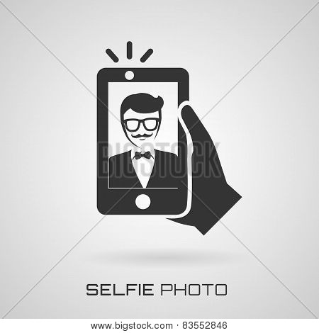 Selfie Icon With Trendy Man. Vector Symbol.