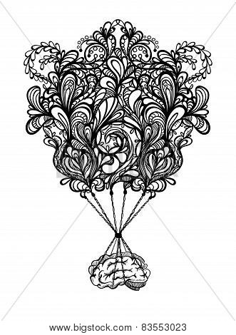 Creative concept of the human brain with zentangle and hot air b