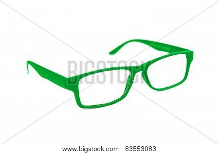 Green Eye Glasses Isolated On White Shallow Depth Of Field And Soft Focus