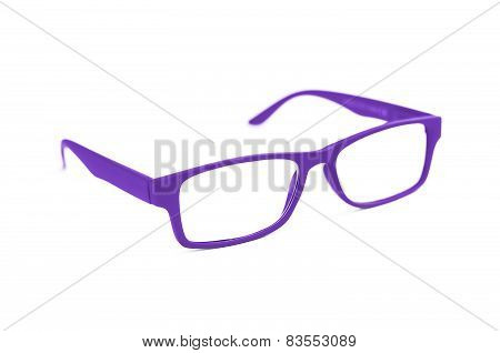 Dark Purple Eye Glasses Isolated On White Shallow Depth Of Field And Soft Focus