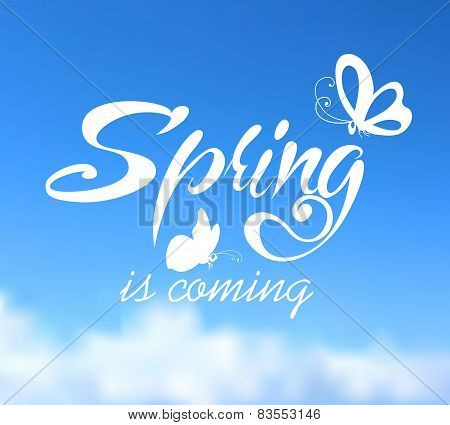 Typographic Design. Lettering Spring design on blurred backgroun