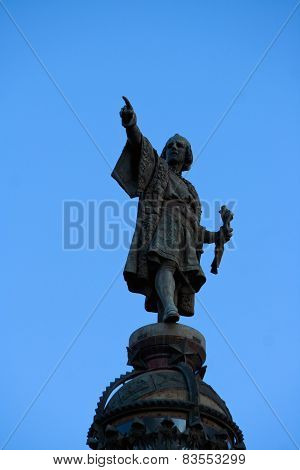 Christopher Columbus Statue In Barcelona, Spain
