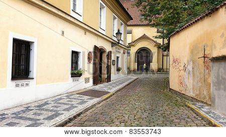 Small Street Anezska In Prague