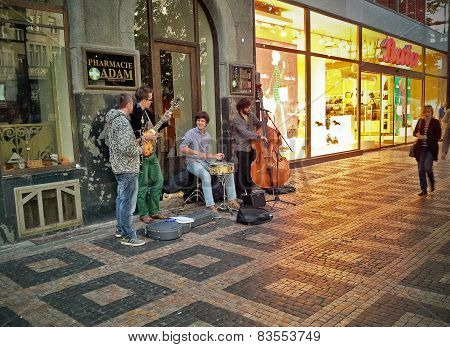 Street Jazz Quartet In Prague