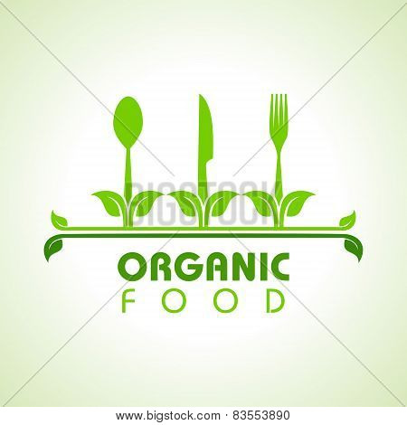 Organic food with kitchen utensils concept stock vector