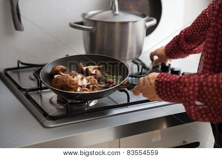 Closeup On Young Housewife Putting Pan On Stove