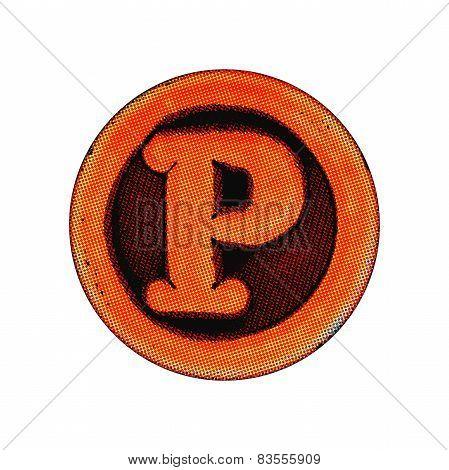 Grunge Font - Letter P
