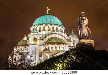 Karadjordje Monument And The Church Of Saint Sava In Belgrade, Serbia