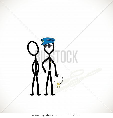 Police Arresting Person Illustration
