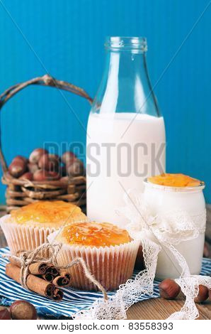 Breakfast Time (homemade Muffins With Orange And Cinnamon Jam, Yogurt, Milk, Nuts)