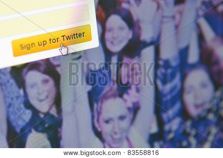 Galati, Romania, February 24, 2015: Close Up Image Of Sign Up For Twitter