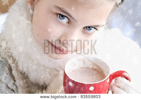 Girl Drinking Hot Chocolate Outdoor