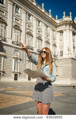Happy Beautiful Exchange Student Girl Visiting Madrid City Reading Map