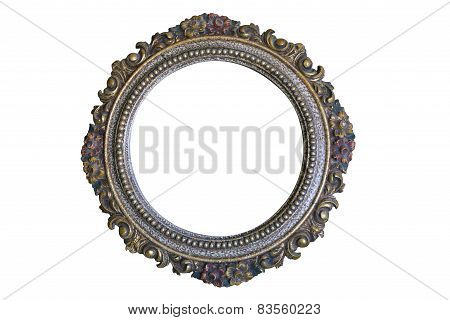 Antique Round Frame Isolated On White