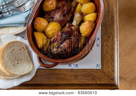 Top View Of Roasted Meat And Potatoes
