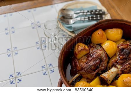 Roasted Meat With Potatoes, Closeup Shot