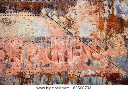 Industrial Background With Rust And Rivets