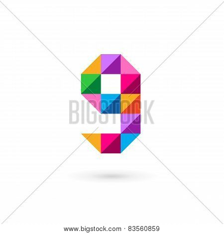 Letter G Number 9 Mosaic Logo Icon Design Template Elements