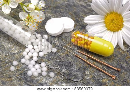 alternative medicine with herbal pill