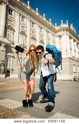 Beautiful Friends Tourist Couple Visiting Spain In Holidays Students Exchange Taking Selfie Picture