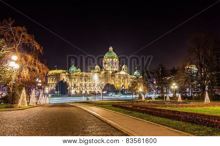 View Of The Parliament Of The Republic Of Serbia In Belgrade