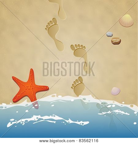 Seashore With Footprints In The Sand