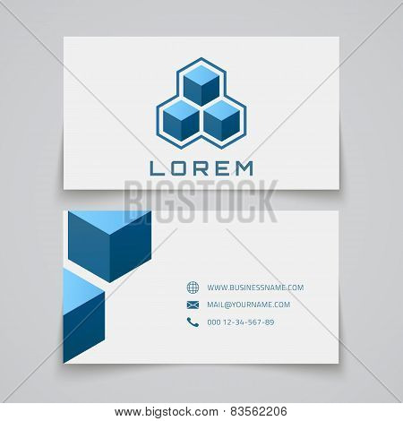Business card template. Abstract cubes.