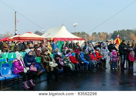 Shrovetide Festivities In Gomel. The Spectators At A Concert In The Open Air