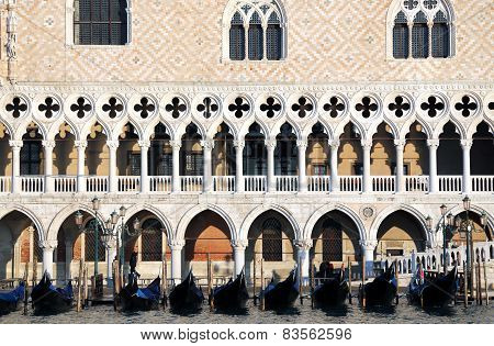 Venice Doge's Palace And Gondolas